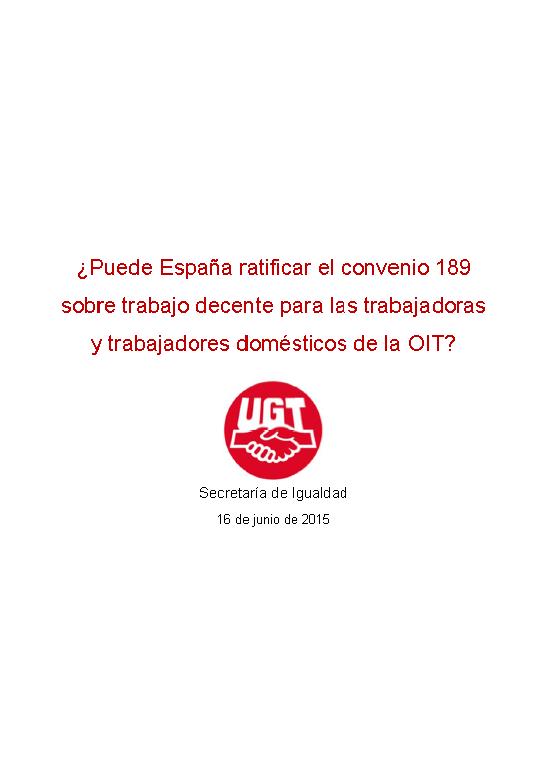 Puede España ratificar el convenio 189 sobre trabajo decente...