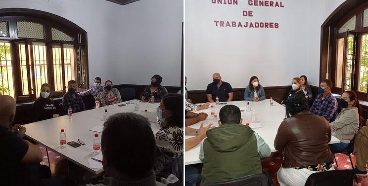 Encuentro con delegados y delegadas de UGT del sector textil en la sede del sindicato en Alcoi